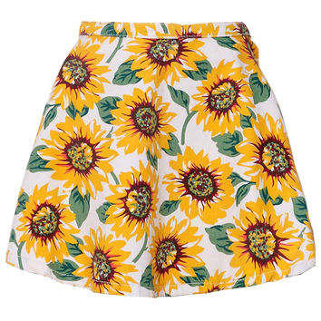 Sunflower Print High Waisted Skater Skirt