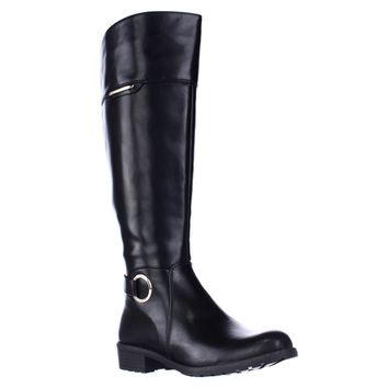 A35 Jadah Tall Wide Calf Riding Boots, Black, 7.5 US