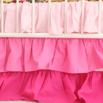 Waterfall Ruffle 3 Tier Crib Skirt | Pink Nursery