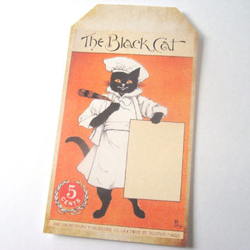 Black Cat Magazine Cover Gift Tags Set of 9 Vintage Inspired