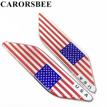 CARORSBEE 1 Pair Aluminum+Epoxy American flag USA United States Logo Car sticker side Decals For Auto motorcycle motocross bike