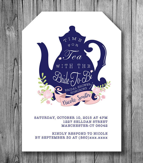 Shop blue wedding shower invitations on wanelo bridal shower tea invitation bride to be tea party invite navy blue white pink flowers wedding filmwisefo Gallery