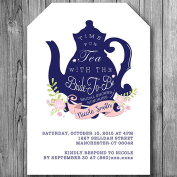 Bridal Shower Tea Invitation Bride To Be Party Invite Navy Blue White Pink Flowers