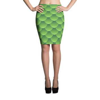 Dragon Scale Print Cut & Sew Pencil Skirt