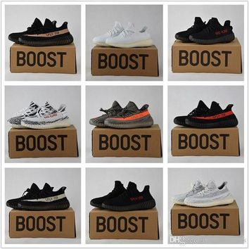 Adidas Originals Yeezy 350 Boost V2 Beluga Sply-350 Black White Black Peach Men Women Running Shoes Kanye West Yezzy Boost 350 With Box