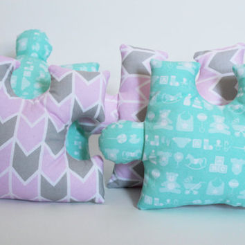 Puzzle Pieces decorative pillows, Set of 4, Pink Grey Aqua & White, Plush Softies, Nursery decor, Baby shower gift, Baby girl birthday, Game