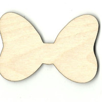 Minnie Mouse Bow Unfinished Laser Cut Wood Shape DSY426