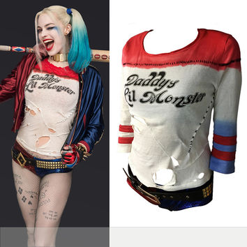 Daddy's Lil Monster T-Shirt tops Joker Cosplay Costumes Batman Arkham Asylum 2016 Suicide Squad Harley Quinn Costume T Shirt