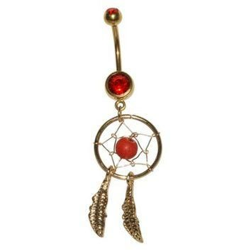 Women's Supreme Jewelry? Curved Barbell Belly Ring with Stones - Gold/Red