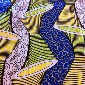 African Wax Print Fabric by the HALF YARD.  Cones and Spirals of yellow, royal blue and lime green.