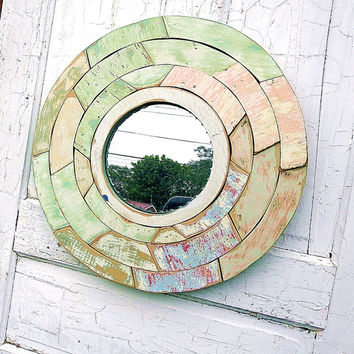 Circular Mirror, Wood Mosaic Mirror, Reclaimed Wood Mirror, Circle Mirror, Pastel Mirror, Mirror Mosaic Art, Mint Green Mirror, Round Mirror