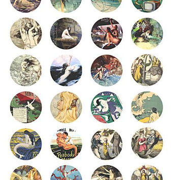 download collage sheet mermaids sea nymphs sirens vintage art clip art digital 1.5 inch circle images craft pendant printable jewelry