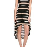 Sexy Striped Racerback Sleeveless Tank Maxi Asymmetric Hi-Low Hem Summer Dress