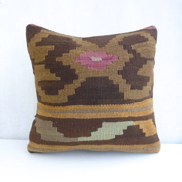 Brown Ethnic Kilim Pillow Cover