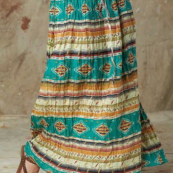 Step In Style Womens Western Broomstick Skirt - Turquoise