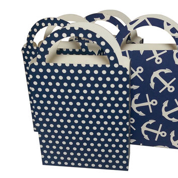 Party Favor Bag/Box Navy Blue and Ivory Nautical Anchor/Mini Dots for Birthday Parties, Baby Showers, (4)