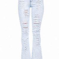 Destroyed Look Hi Waist Bell Bottom Juniors Jeans-Lt Blue