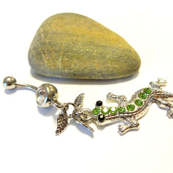 Long Lizard Dangle Belly Rings, Cool Belly Button Ring, Green Lizard Body Jewelry, 14G Belly Ring, Surgical Steel Navel Ring