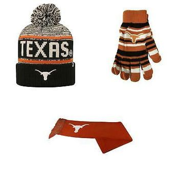 Licensed Texas Longhorns Glove Solid Knit Acid Rain Beanie Hat And Team Logo Scarf 98493 KO_19_1