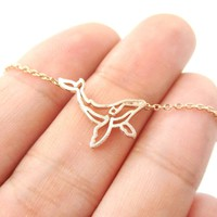 Realistic Humpback Whale Silhouette Animal Charm Necklace in Rose Gold | DOTOLY