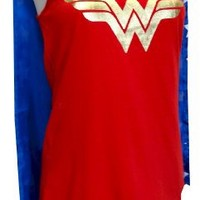 Wonder Woman Tank Style Night Shirt with Cape for women