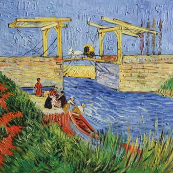 """VG102-The Langlois Bridge at Arles with Women Washing-Van Gogh Repro Oil Painting 20x24"""""""