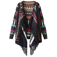 Geo Print Fringed Knit Cover-up