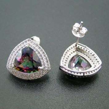 New Arrival 100% 925 Sterling Sliver Captivating Rianbow Mystic Topaz Fine Stud Earrings