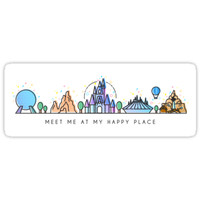'Meet me at my Happy Place Vector Orlando Theme Park Illustration Design' Sticker by tachadesigns