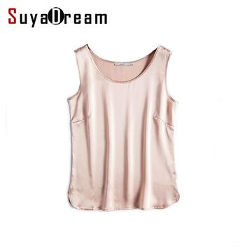 100% REAL SILK women tank tops basic Solid tanks 2017 Summer Sleeveless Top Satin Silk Vest Black White Nude Bottoming shirt