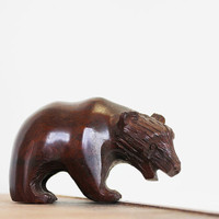 Bear Crossing - Vintage Wooden Bear - Camping - Mid Century - Home Decor - Brown - Wood - Animal Figurine