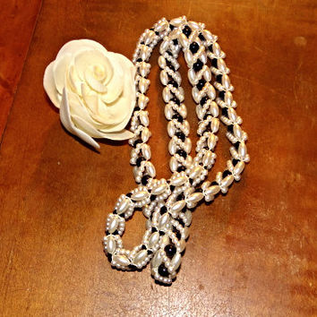 Vintage White Pearl Necklace with black beads, Hand crafted, 32 inches long necklace, Wedding