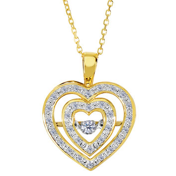 14k Yellow Gold Double Heart Shaped Dancing Diamonds 18 Inch Necklace - 0.12ct. Diamond