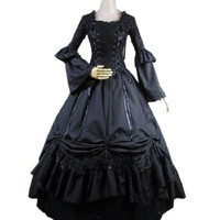 Partiss Women Lace Bandage Square Collar Gothic Victorian Dress