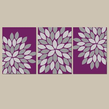 FLOWER Wall Art, Eggplant Bedroom Canvas or Prints, Eggplant Bathroom Decor, Flower, Set of 3 Wall Decor Pictures