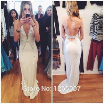 Sexy Fashion Halter Open Back Sparkly Beaded Diamond Backless Mermaid Prom Dresses Gown 2016 White Formal Fornal Maxi Dress