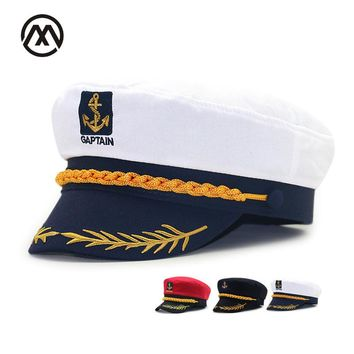 Captain's Hat High Quality Team Captain  Retro Navy Flat Top  Cap Cosply cap Makeup Ball Uniform Cap 2017 2017 new