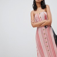 Boohoo Linen Mix Button Through Stripe Midi Dress at asos.com