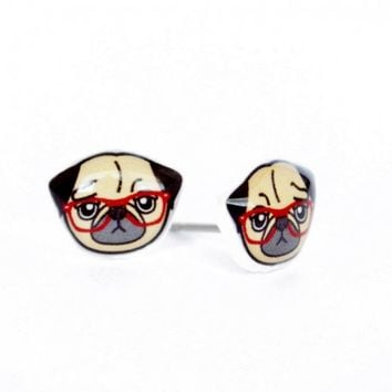 Pug Wearing Glasses Stud Earrings