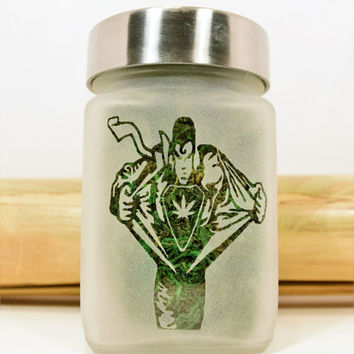 SuperMan Transformation with Pot Leaf Etched Glass Stash Jar & Herb Storage by Twisted420Glass