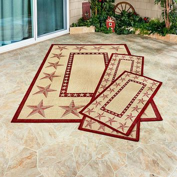 Country Star Themed Accent Rugs Indoor Outdoor