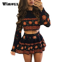 Wimuzz 2017 Summer Long Sleeve Floral Mini Dress Women Bohemian Style Sexy Beach Dresses Two Piece Outfits