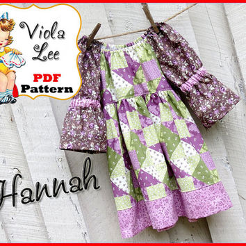 Hannah.. Girl's Peasant Dress Sewing Pattern. pdf Sewing Pattern, Girl's Dress Pattern, Toddler Dress Pattern. 3/4 & Short Sleeve Options.