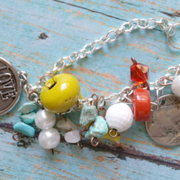 Love You More Assemblage Bracelet / Mixed Metal Bracelet / Glass Pearl Bracelet / Turquoise Bracelet / Western Jewelry / Bless Your Heart