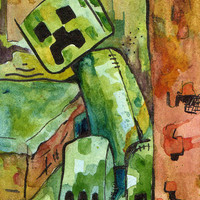 Minecraft Creeper - Print of Original Watercolor and Ink Illustration by Jen Tracy - Whatcha Buildin