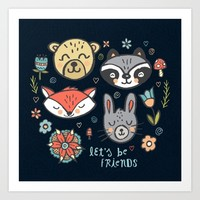 Forest Pals Art Print by Noonday Design