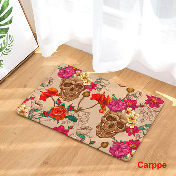 Floor Mats Skull Flower Printed Bathroom Kitchen Carpet House Doormats Living Room Anti-Slip Rug 40X60 50X80CM