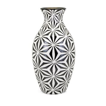 Amrita Tall Earthenware Vase - Black and White - Benzara