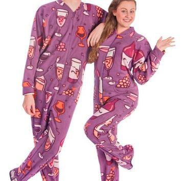 Footie Pajamas for Wine Lovers Fleece Drop Seat