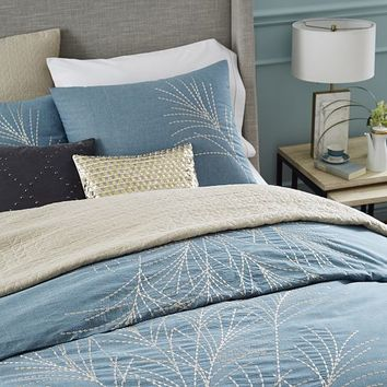 Embroidered Seagrass Duvet Cover + Shams - Blue Stone